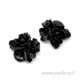 """Akrilinis kabošonas """"Black Flower"""", 16x16 mm"""