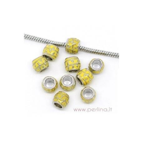Pandora metalinis karoliukas, geltonas, 10x8 mm
