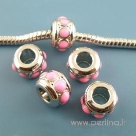 Pandora metalinis karoliukas, rožinis, 10x7 mm
