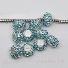 Pandora karoliukas su žydrais kristalais, 10x6 mm