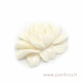 """Akrilinis kabošonas """"Gėlė"""", dramblio kaulo sp., 46x36 mm"""
