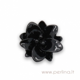 "Akrilinis kabošonas ""Black Flower"", 13x12 mm"