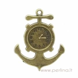 "Bronzos sp. pakabukas ""Anchor Clock"", 3,7x3 cm"