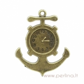 "Bronzos sp. pakabukas ""Anchor Clock"", 3,7x3 cm"