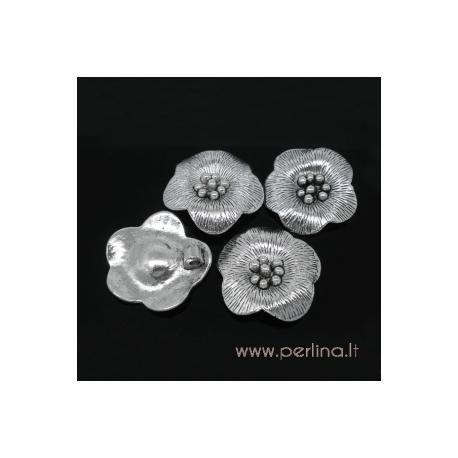 """Antikinio sidabro sp. pakabukas """"Flower"""", 29x4 mm"""