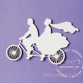 """Kartoninė detalė """"Vestuvės, jaunavedžiai ant dviračio"""", 1 vnt."""