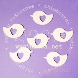 """Kartoninė detalė """"Paukštelis su širdele"""", 6 vnt."""