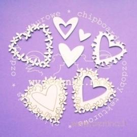 """Kartoninė detalė """"Širdelės - meilė"""", 10 vnt."""