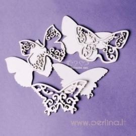 """Kartoninė detalė """"Drugeliai su ornamentais"""", 3 vnt."""