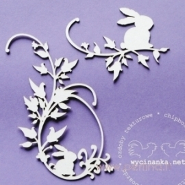 "Chipboard ""Decoration - hare in flower"", 2 pcs"