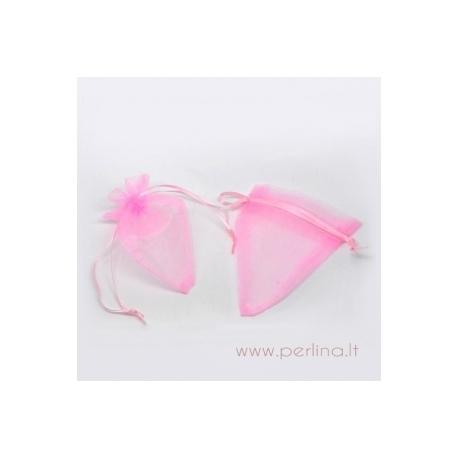 Organzos maišelis, rožinis, 12x9 cm