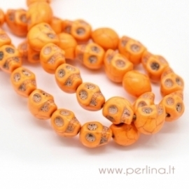 """Houlitas """"Kaukolė"""", oranžinės sp., 10x8 mm"""