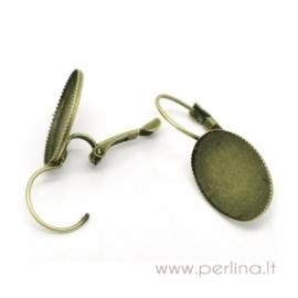 Ant. bronzos sp. auskarų kabliukai, 30x14 mm