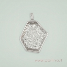 DeCoRe Hexagon Pendant With Bezel, 30x26 mm