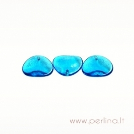 Stiklinis pakabukas, mėlynas, 14x13 mm