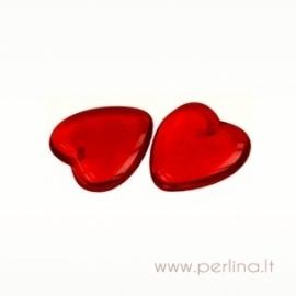 Glass pendant - heart, siam ruby, 24x21 mm