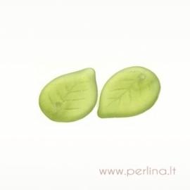 Stiklinis pakabukas - lapelis, žalias, 18x13 mm
