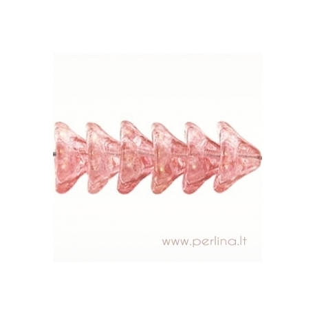 Stiklinis karoliukas - gėlytė, topazo/rožinė sp., 8x13 mm
