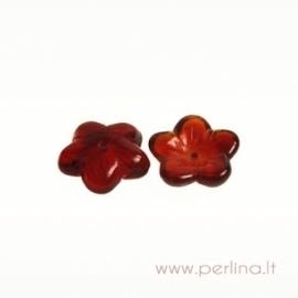 Stiklinis karoliukas - gėlytė, rubino sp., 16x4 mm
