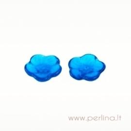 Glass bead - flower, light capri blue, 12 mm