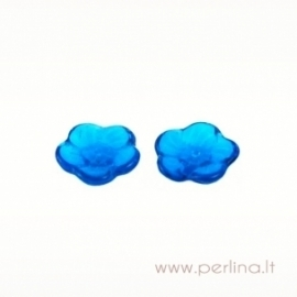 Stiklinis karoliukas - gėlytė, mėlyna, 12 mm