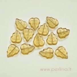Stiklinis karoliukas - lapelis, geltonas/šv.rudas, 10x12 mm