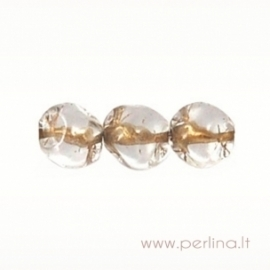 Glass bead, light gold lined-crystal, 7 mm