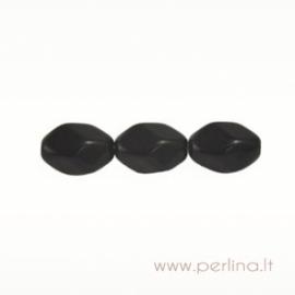 Stiklinis karoliukas, briaunuotas, juodas, 16x11 mm
