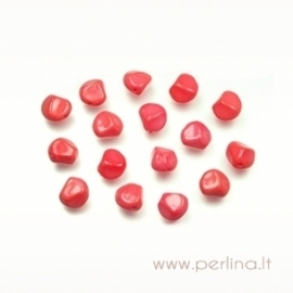 Glass bead, faceted, opaque orange/red, 12x10 mm