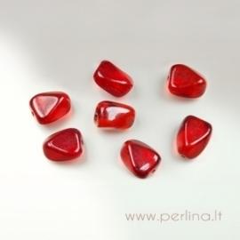 Stiklinis karoliukas, briaunotas, raudonas, 18x13 mm