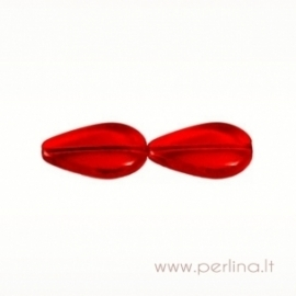 Stiklinis karoliukas, lašo f., raudonas, 20x12 mm