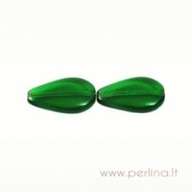 Glass bead, flat drop, green, 20x12 mm