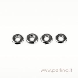 Stiklinis karoliukas - žiedelis, sidabro sp., 1x3,8 mm, 10 vnt