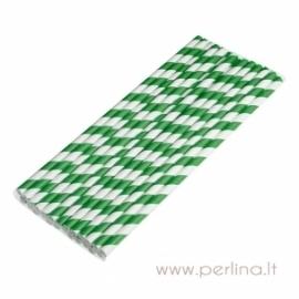 Popieriniai šiaudeliai, žali, 25 vnt