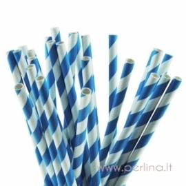 Popieriniai šiaudeliai, mėlyni, 25 vnt