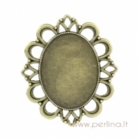 Antique bronze pendant - frame, 5,9x5,1 cm