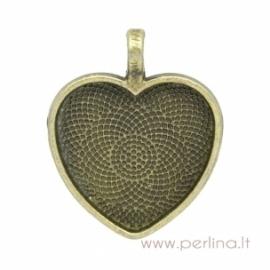 """Antikinės bronzos sp. pakabukas - rėmelis """"Širdutė"""", 34x28 mm"""