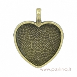 "Antique bronze pendant - frame ""Heart"", 34x28 mm"