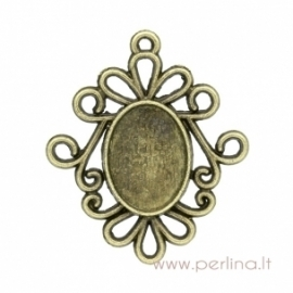Antique bronze pendant - frame, 3,1x2,6 cm