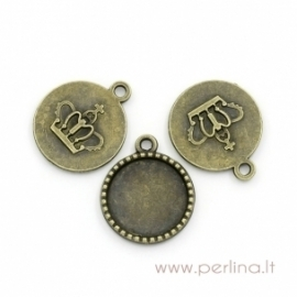 Antique bronze pendant - frame, 26x22 mm