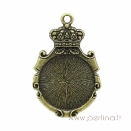 """Antikinės bronzos sp. pakabukas - rėmelis """"Crown Mirror"""", 5,3x3,5 cm"""