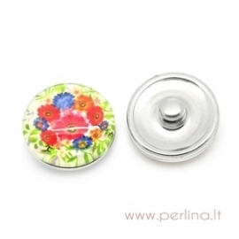 """Glass Chunk Button """"Multicolor Flower"""", 18 mm"""