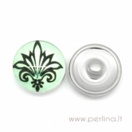 "Glass Chunk Button ""Fleur-De-Lis Flower"", 18 mm"