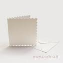 "Atvirutė ir vokas ""Scalloped"", baltos sp., 7,6x7,6 cm"