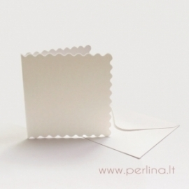 "Card and envelope ""Scalloped"", white, 7,6x7,6 cm"