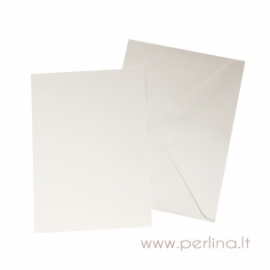 Atvirutė ir vokas, baltos sp., 12,7x17,8 cm