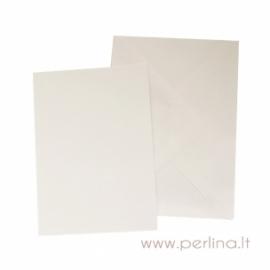 Atvirutė ir vokas, baltos sp., 10,5x14,8 cm