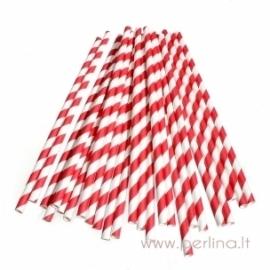 Paper straws, red, 25 pcs
