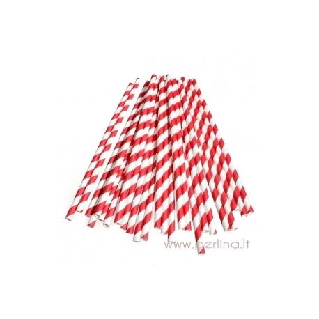 Popieriniai šiaudeliai, raudoni, 25 vnt