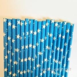 Popieriniai šiaudeliai, mėlyni su žvaigždutėm, 25 vnt